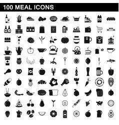 100 meal icons set simple style vector