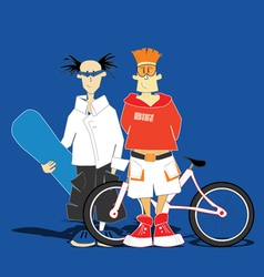 Snowboarder and mountain-biker vector