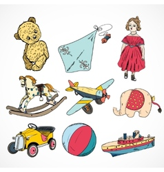 Toys colored sketch icons set vector