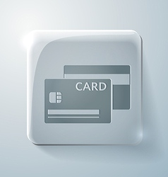 Credit card glass square icon vector