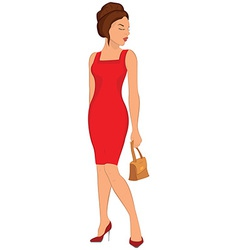 Cartoon young woman in red dress and closed eyes vector image