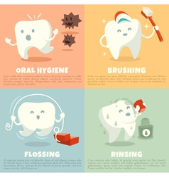 Oral hygiene banners with cute tooth vector