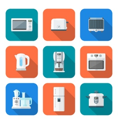 color flat style various kitchen devices set vector image