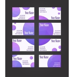 Set of eight visit cards vector