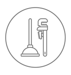 Pipe wrenches and plunger line icon vector