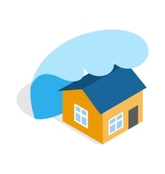 Big wave of tsunami over the house icon vector