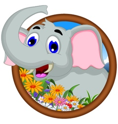 Elephant cartoon in frame vector