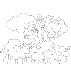 Beautiful cartoon fairy on the meadow For vector image