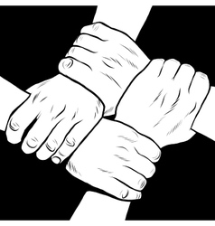 Black and white hands solidarity friendship vector