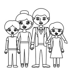 Black contour family group in casual suit vector