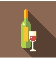 Bottle of wine with glass icon flat style vector