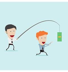 Businessman fishing money for motivation vector