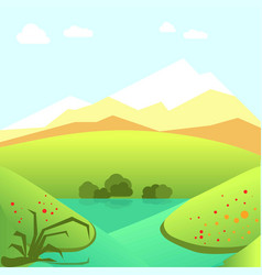 calm summer landscape with green fields and high vector image vector image