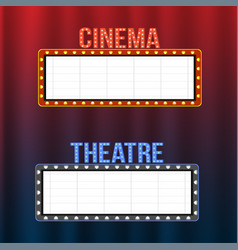 Cinema and theatre signboards on blue and red vector