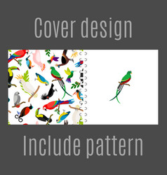 cover design with parrot birds pattern vector image vector image