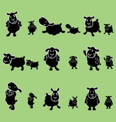 cute black sheep poses design set vector image vector image