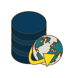 Database globe connections network design vector