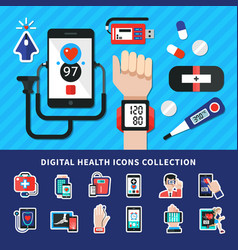 Digital healthcare flat icons collection vector