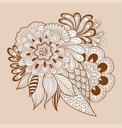 doodle art floral composition henna floral tattoo vector image