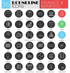 finance banking circle white black icon set vector image