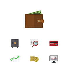 Flat icon gain set of cash strongbox growth and vector