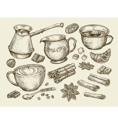 Food tea coffee hand drawn cup cinnamon anise vector