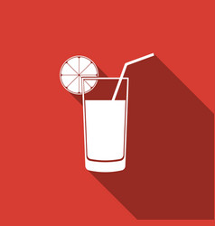 glass of juice icon isolated with long shadow vector image