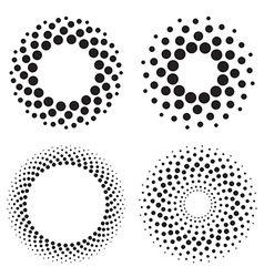 Halftone circles of dots vector