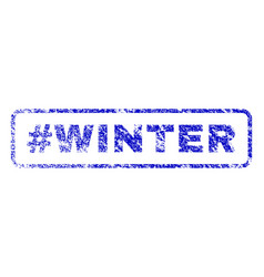 hashtag winter rubber stamp vector image