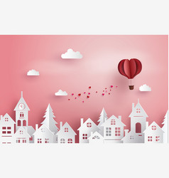 love and valentine daypaper hot air balloon heart vector image vector image