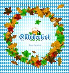 Oktoberfest round frame of maple leaves vector image