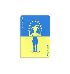 playing card with joker in blue and yellow design vector image vector image