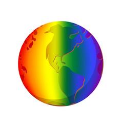 Rainbow planet cartoon icon vector