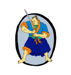 samurai warrior katana enso vector image vector image