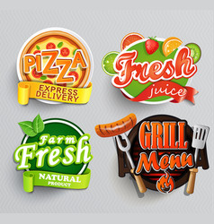 Set of stickers for food vector
