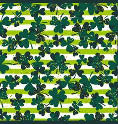 Shamrock green striped trefoil leaf seamless vector