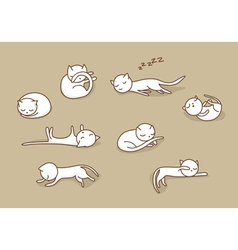 Sleeping cats set vector
