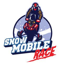 snow mobile race design vector image