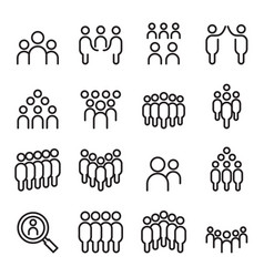 Team people group human staff icon set in thin vector