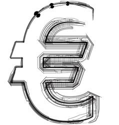 Technical typography euro symbol vector image vector image