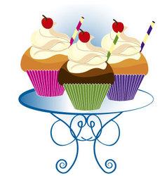 three cupcakes vector image vector image