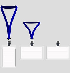 Three white lanyard with blue holder vector image