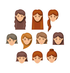 white background with female faces with hair vector image
