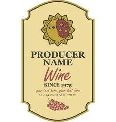 wine label with sun and moon vector image