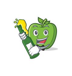 With beer green apple character cartoon vector
