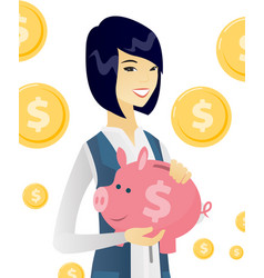 Young asian business woman holding a piggy bank vector