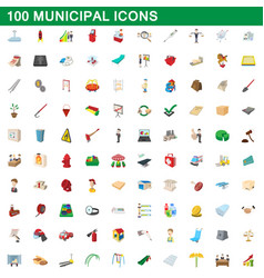 100 municipal icons set cartoon style vector image