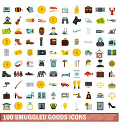 100 smuggled goods icons set flat style vector