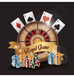 Roulette cards chips casino icon vector
