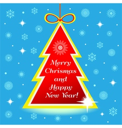 Christmas tree with greeting vector image